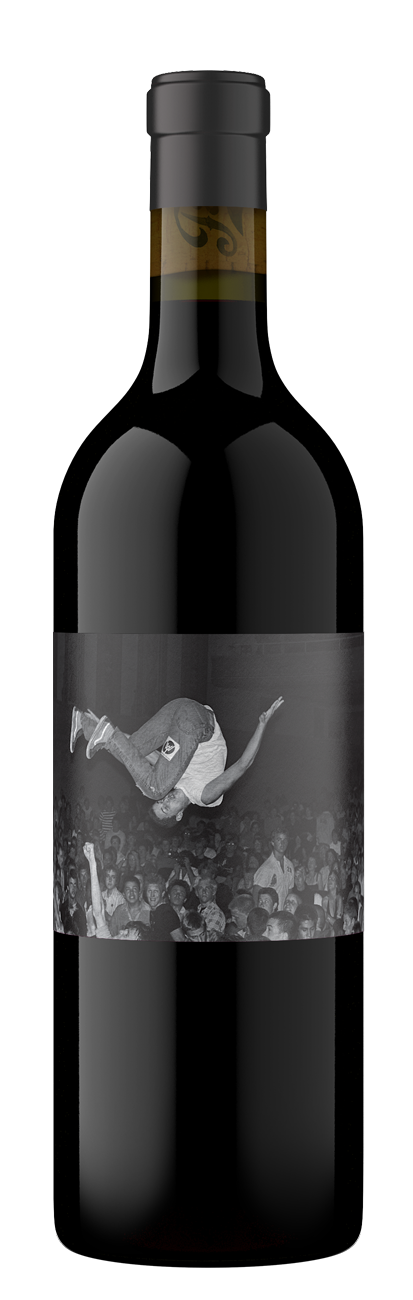 American Hardcore wine bottle featuring a stage diver doing a flip into the crowd.