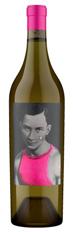 Boys Cry wine bottle featuring a black and white photo of a man in a pink shirt with a large tear streaming down his cheek.