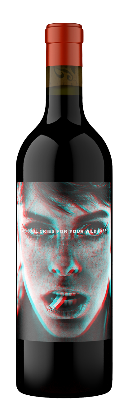 Wild Eyes bottle featuring a haunting photo of a women with large eyes smoking a cigarette.